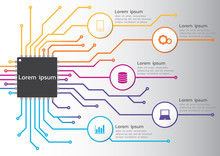 Circuit Board Technology Infographic. Vector 5 Options Colorful Design. For Workflow Layout, Diagram, Web Design, Process Chart.