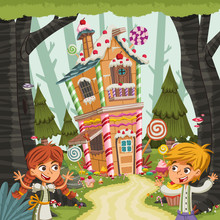 Hansel And Gretel In Front Of ...