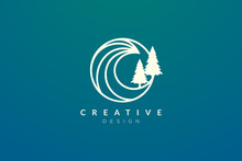 Ocean Waves And Trees In A Circle. Minimalistic And Simple Vector Design