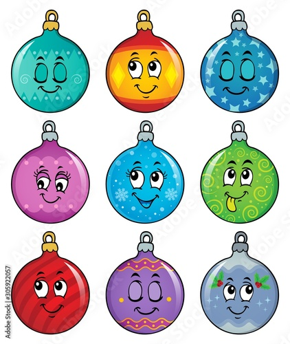 Foto auf Leinwand Für Kinder Happy Christmas ornaments theme image 2