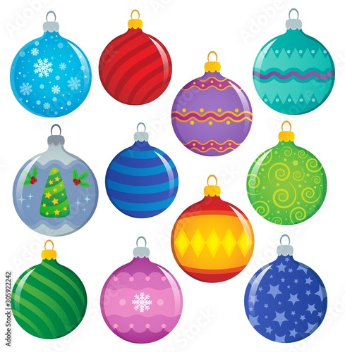 Foto auf Leinwand Für Kinder Stylized Christmas ornaments theme set 1