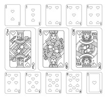 Playing Cards Hearts Set In Black And White From A New Modern Original Complete Full Deck Design. Standard Poker Size.