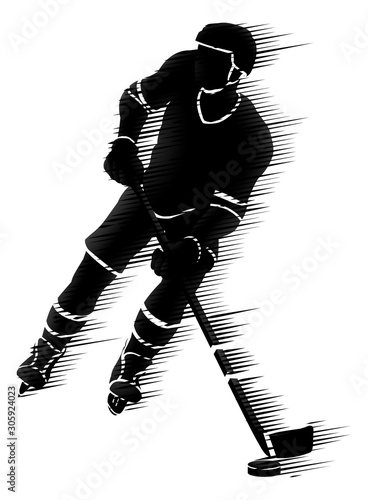 An ice hockey player silhouette sports illustration concept Canvas Print