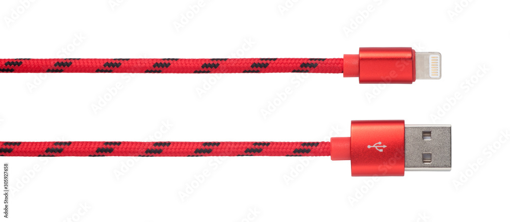 Fototapeta Red USB cable for phone and tablet isolated on white background