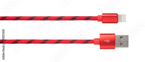 Fotomural Red USB cable for phone and tablet isolated on white background