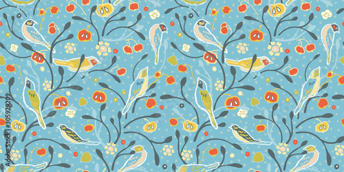 Vintage apple tree and bird on light blue dotted background Wallpaper Mural
