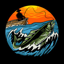 Sunset Fishing Illustration. Fisherman On Wooden Boat With A Fishing Rod Pulls A Fish Vector For Tshirt Design, Poster, Web, Sticker, Or Wallpaper