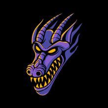 Purple Dragon Head Logo Design. Dragon Face Illustration For Tshirt Design, E-sport, Tattoo, Or Sticker. Spooky Art