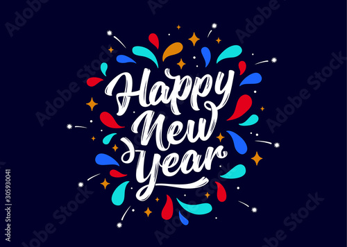 Canvastavla Happy New Year. Lettering text for Happy New Year