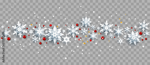 Fotobehang - Snowflakes and red berries on background