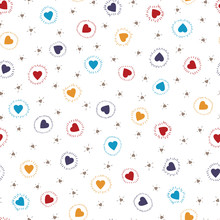 Multicolor Tiny Hearts Seamless Pattern. Colorful Pink Hearts. Love. Valentine's Day Background.