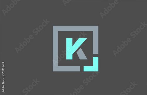 Fotografía  grey letter K alphabet logo design icon for business