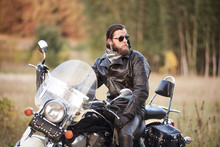 Young Bearded Motorcyclist In ...