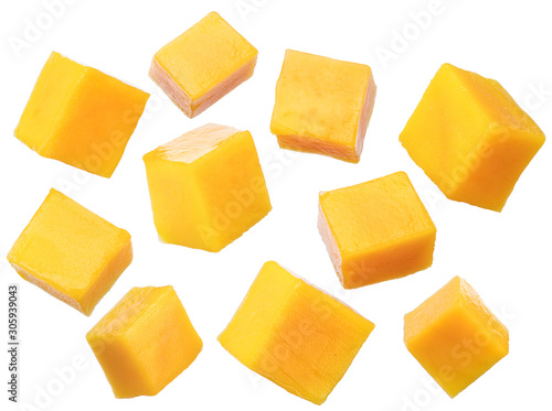 Fototapeta Set of mango cubes isolated on a white background