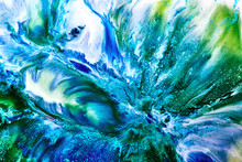 Abstract Liquid Paint Background. A View From Space On An Exoplanet Sea Or Ocean. Colorful Blue Green Swirl Wave Storm