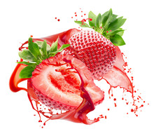 Strawberries In Juice Splash Isolated On A White Background