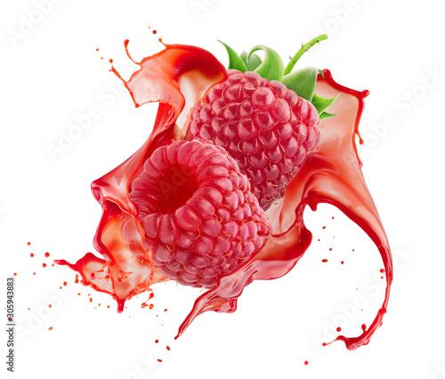 Fototapeta owoce w wodzie   maliny-w-powitalny-soku-na-bialym-tle-na-bialym-tle