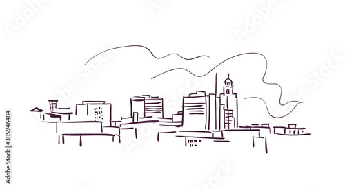 Obraz na plátně Linkoln Nebraska usa America vector sketch city illustration line art