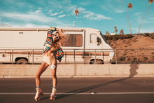 Retro Style Skater Girl With A...