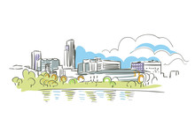 Omaha Nebraska Usa America Vector Sketch City Illustration Line Art