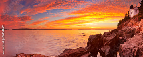 Bass Harbor Head Lighthouse, Acadia NP, Maine, USA at sunset Wallpaper Mural