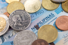 Cash Banknote Of One Thousand Philippines Peso And Coins Paying Bills, Payment Procedure Or Bribe, Salary, Close Up