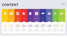 10 Content Concept Set Included Reply, Priority, Weekend, сhat, Reply All, Paste, Text Format, Next Week, Thumbnails Icons