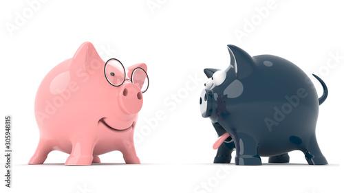 Fotografie, Obraz  leader and looser concept - two piggy banks - 3d illustration