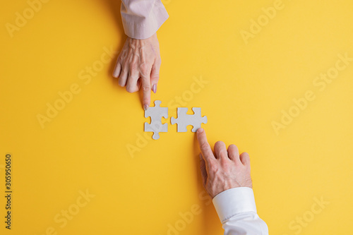 Photo  Business teamwork and solution concept