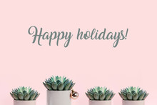 Happy Holidays Banner Made With Succulents On Pale Pink Background And One Of Them Decorated With Christmas Ball.