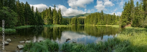Obraz lake in the forest in lower tatra mountains - fototapety do salonu