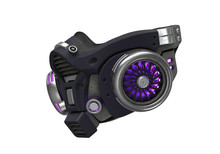 Futuristic Chemical Gas Mask With Protective Scratched Metal Filters. Modern Military Black Gray Respirator With Neon Light. Concept Art Air Pollution. 3d Illustration Isolated On White Background