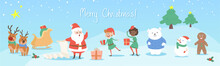 Set Of Christmas Characters Cu...