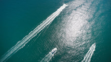 Aerial View Of Speed Boat In M...