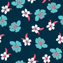 Blue And White Cherry Flowers Vector Pattern
