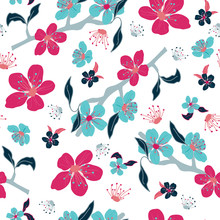 Red And Blue Cherry Flowers Vector Pattern