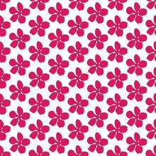 Red Flower Elements Half Drop Repeat Pattern