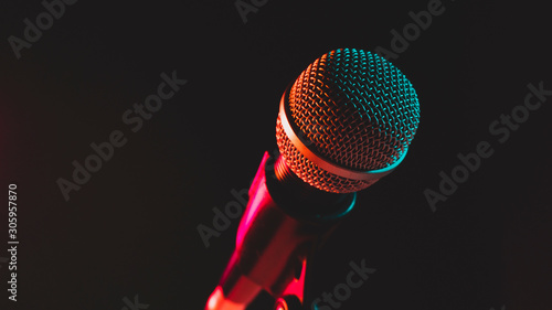 close up microphone on stand Fototapet