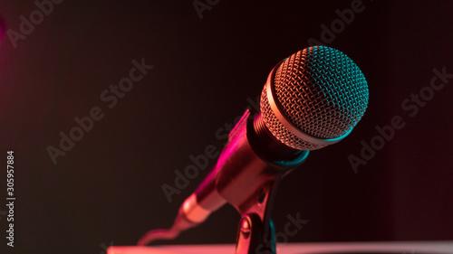 Obraz na plátně  close up microphone on stand