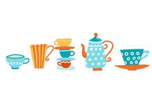 Ceramic Teapot And Many Mugs A...
