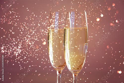 Cuadros en Lienzo  Happy New Year champagne glasses