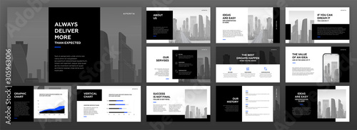 Modern powerpoint presentation templates set for business and construction with cityscape vector illustration Fototapet
