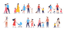 Bundle Of Walking Families. Collection Of Mothers, Fathers And Children Spending Time Together. Set Of Strolling Parents And Kids Isolated On White Background. Flat Vector Illustration