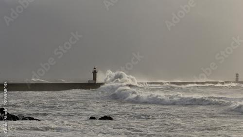 Fototapety, obrazy: Douro river mouth stormy seascape