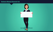 Beautiful Business Woman Holding Blank Banner. Flat Vector Illustration. Woman In Office Clothes. Business People.