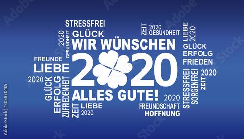 Fototapeta 2020 - gute wünsche mit glücksklee
