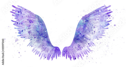 Pink spreaded magic angel watercolor wings Wallpaper Mural