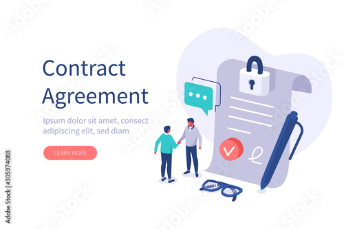 Photo Characters Shaking Hands after Signing Official Contract Document