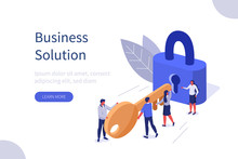 Business Team Holding Golden Key And Unlocking The Lock. Successful Businessman And Businesswoman  Working Together. Business Solution Concept. Flat Isometric Vector Illustration.
