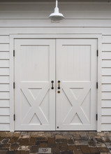 Isolated White Barn Doors With...
